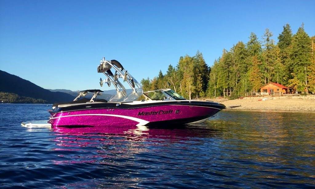 Mastercraft X10 Bowrider for Charter on Lake Okanagan with Andrew