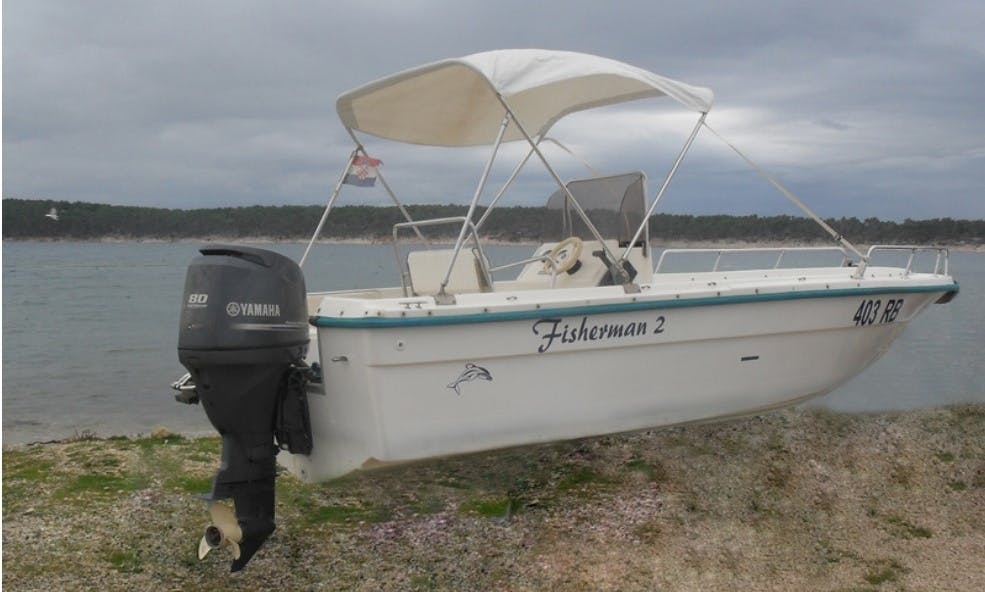 18' Center Console Boat with 80 Hp Outboard for Rent in Rab, Croatia