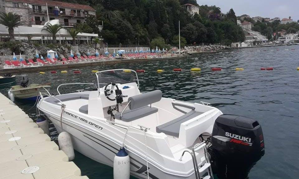 Charter boat for sea trips in Herceg Novi, Montenegro