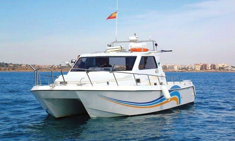 """Charter this 36' """"Luna De Gadel"""" Power Catamaran at Marina Salinas Torrevieja"""
