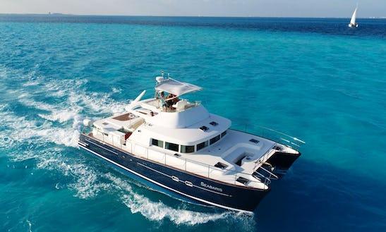 Power Catamaran Rental In Cancún 43ft For 25 People.