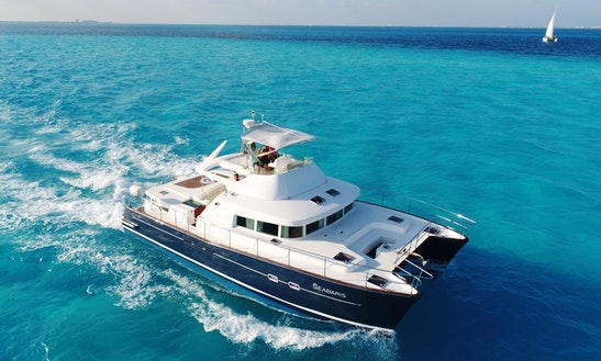 Power Catamaran Rental In Cancún 43ft For 25 People.