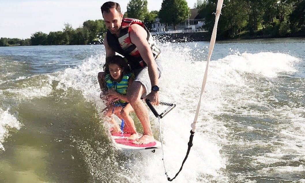 Wakeboarding and wakesurfing on south shore of Montreal