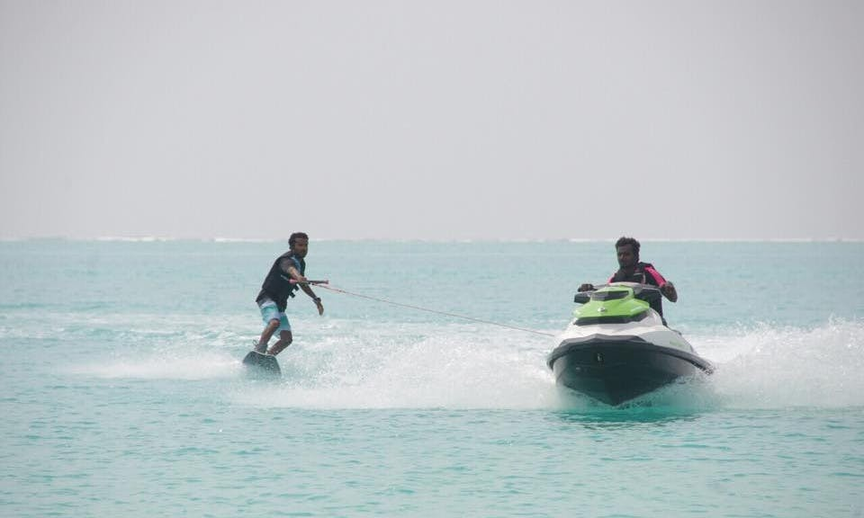 Wakeboarding in the beautiful beach of Kelaa, Maldives!