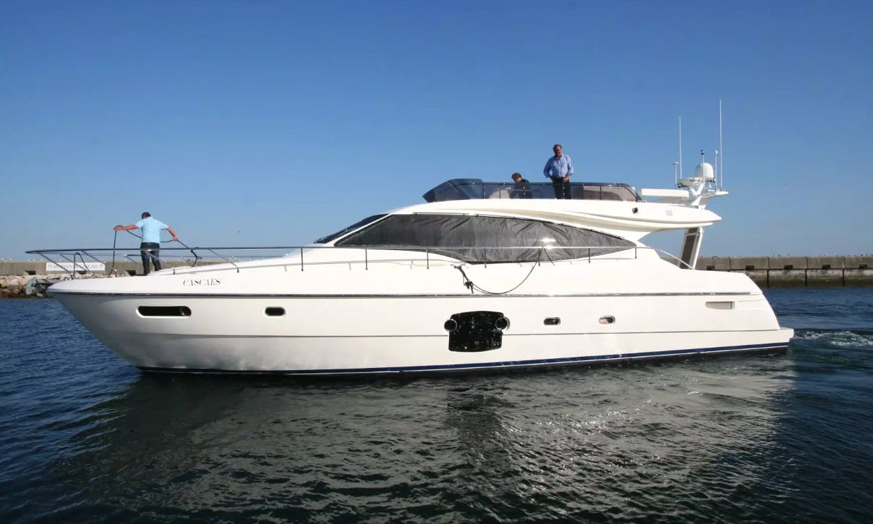 Full Day Sailing on a 59ft Ferretti Power Mega Yacht in Setúbal, Portugal