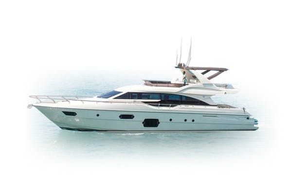 Hit The Water In Style! Book This Amazing 65 Feet Ferretti Power Mega Yacht In Miami Beach, Florida