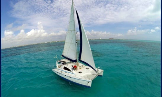 45ft Cruising Catamaran Charter for Up to 35 People in Cancún, Mexico