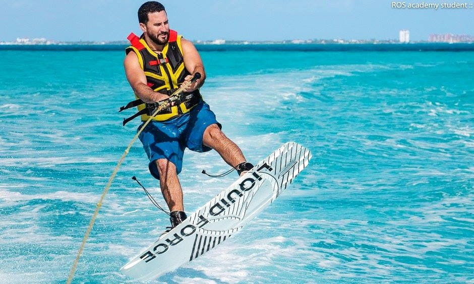 Wakeboarding in Cancún, Mexico on a SeaRay Sundeck boat