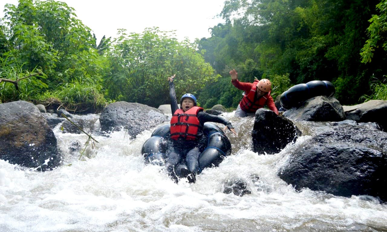 White Water Tubing in the slope of the mountain Semeru, Malang Indonesia