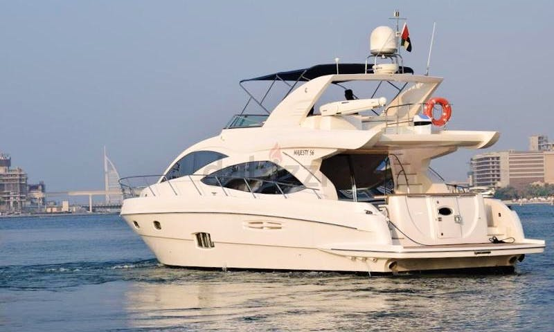 Reserve the Majesty 56 Motor Yacht and Explore the Arabian Gulf!