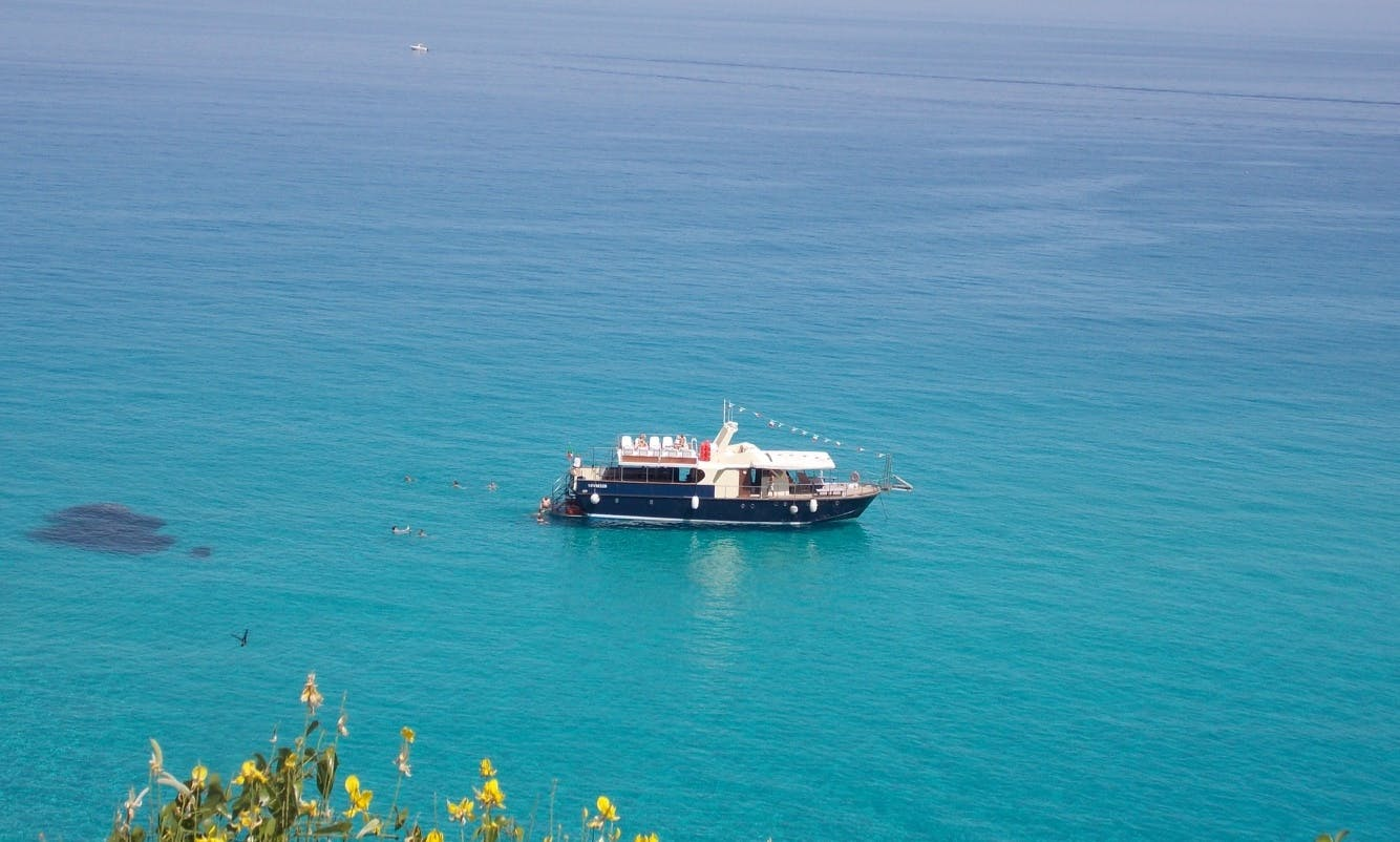 Private Boat Party on a Blue Ocean Motorboat for 62 Guests in Tropea, Italy