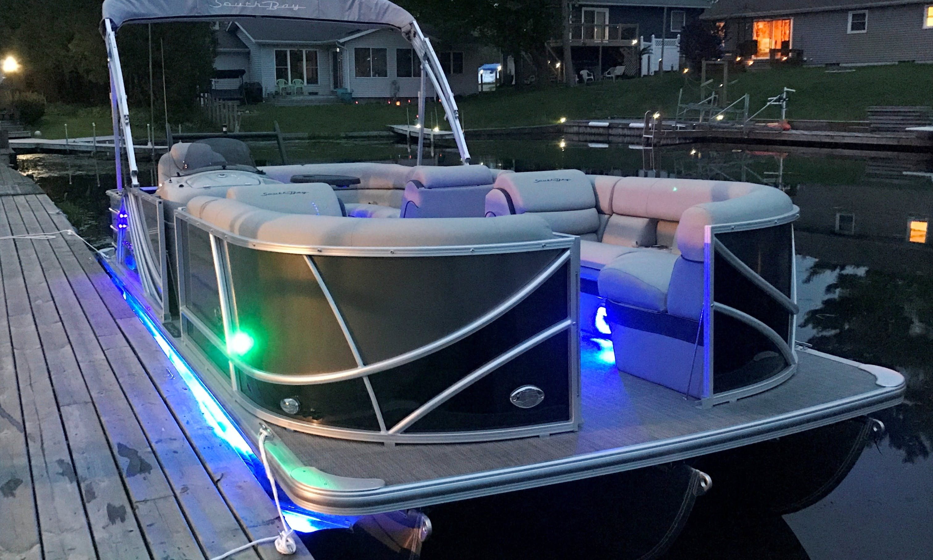 13 Person SouthBay 150 HP Tritoon for Rent on Gun Lake